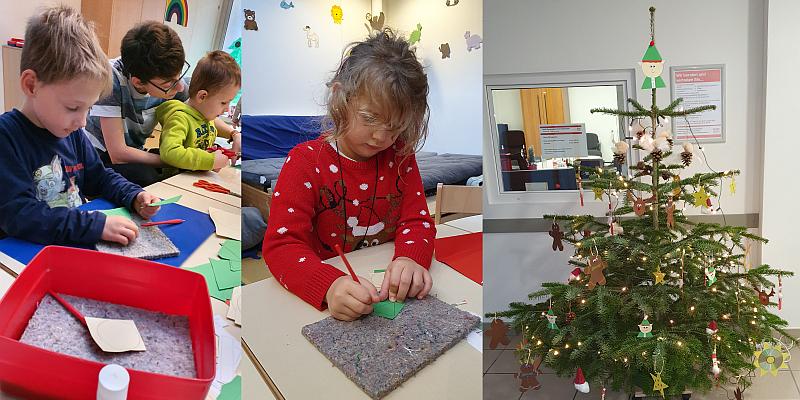 Kinder des Heilpädagogisches Zentrum der Lebenshilfe Holzminden bastelt Baumschmuck für den Sozialverband Holzminden