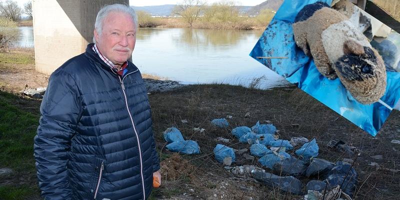 Wer kennt diese Stoffmaus? Illegale Müllentsorgung unter der Lüchtringer Weserbrücke