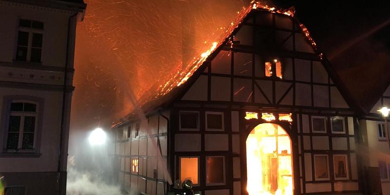 Großbrand in der Altstadt von Lügde